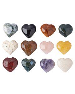 Mixed Gemstone Puff Hearts (12pcs) NETT