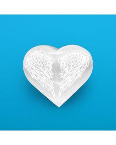 Selenite Heart Etched Angel Wings (1pc) NETT
