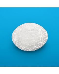 Selenite Palmstone 7x6cm Etched Crystal Grid Design NETT