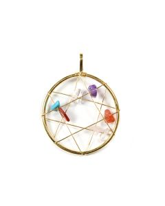 Chakra Dream Catcher 7 Stones Pendant Gold Plated (1 Piece) NETT
