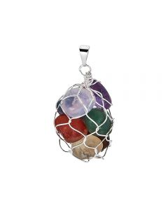Chakra Wire Bag Pendant, Silver Plated (1pc) NETT