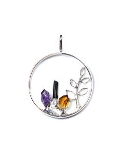 Circle Branch Pendant with 3 Assorted Charms, Silver Plated (1pc) NETT