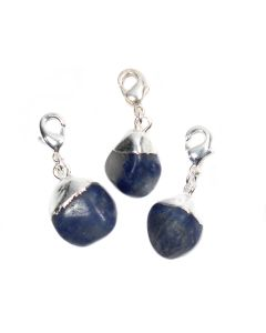 Mini Dumortierite Tumblestone Charm, Silver Plated (1pc) NETT