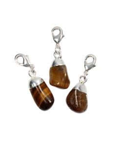 Mini Tumble Tiger Eye Electroplated Silver Plate Charm (1 Piece) NETT