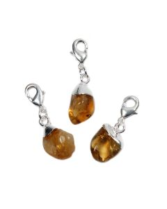 Mini Tumble Citrine Heat Treated Electroplated Silver Plate Charm (1 Piece) NETT