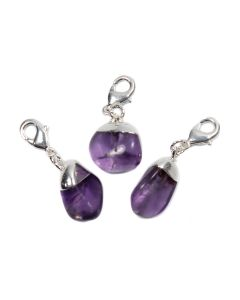 Mini Tumble Amethyst Electroplated Silver Plate Charm (1 Piece) NETT