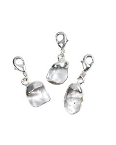 Mini Quartz Tumblestone Charm, Silver Plated (1pc) NETT