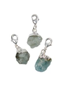 Mini Rough Aquamarine Charm, Silver Plated (1pc) NETT