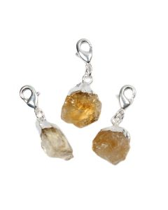 Mini Rough Citrine (Heat Treated) Charm, Silver Plated (1pc) NETT