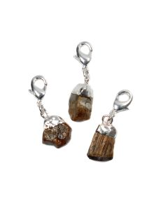 Mini Rough Gold Tiger Eye Charm, Silver Plated (1pc) NETT
