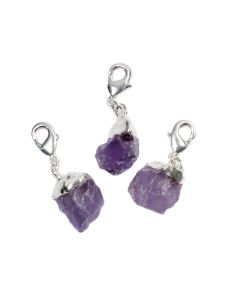 Mini Rough Amethyst Charm, Silver Plated (1pc) NETT