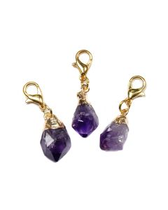 Mini Amethyst Point Charm Electroplated Gold Plate (1 Piece) NETT