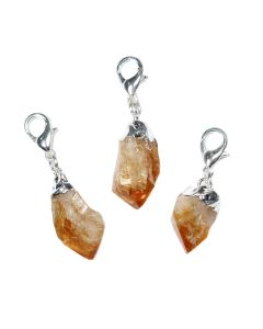 Mini Citrine Heat Treated Point Charm Electroplated Silver Plate (1 Piece) NETT