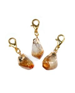 Mini Citrine Heat Treated Point Charm Electroplated Gold Plate (1 Piece) NETT