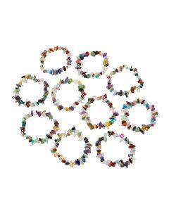 "7.5"" Mixed Stone Chip Bracelets (10pcs) NETT"