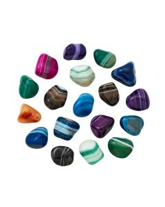 Banded Agate (Dyed) Mixed 7 Colours (100g) 10-20mm Sml tumble NETT