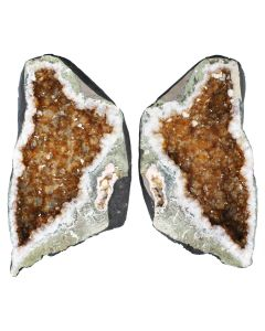 Citrine Heat Treated Freeform Pair (H12.5 x W58 x D35cm 18.5kg & 19.2kg) NETT
