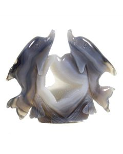 Druzy Agate Double Dolphin Carving 423g (1 Piece) NETT