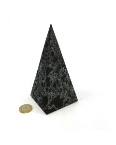 Shungite with Quartz Unpolished Petrovskiy Stone Tall Pyramid  140mm  (1pc) NETT