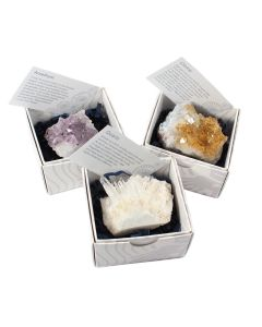 Amethyst/Citrine/Quartz Clusters Gift Boxed with ID Card (9 Piece) NETT
