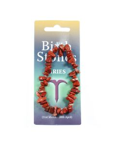 Aries, Red Jasper Birthstone Chip Bracelet (10pcs) NETT