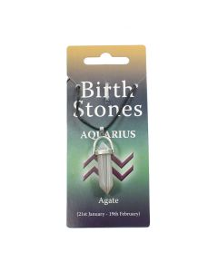 AQUARIUS Birthstone Pendant on Thong (10 Piece) (Agate) NETT