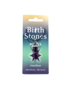 Pisces, Amethyst Birthstone Pendant on Thong (10pcs) NETT