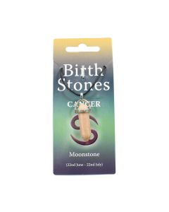 Cancer, Moonstone Birthstone Pendant on Thong (10pcs) NETT