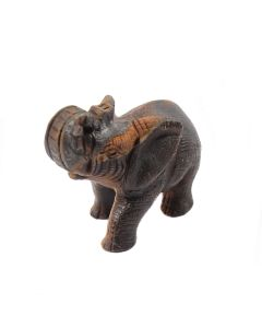 """Tiger Eye Elephant Carving Textured (3"""") (1 Piece) SPECIAL"""