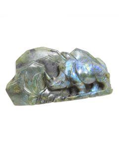 "Labradorite Relief Rhino Carving (6.5x2x3.5"") (1 Piece) SPECIAL"