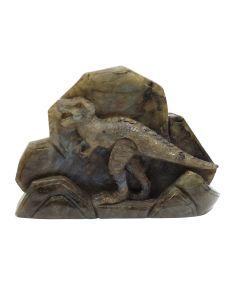 "Labradorite Dinosaur Relief Carving (6x1.5x4.25"") (1 Piece) SPECIAL"