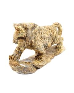 "Picture Jasper Tiger Carving with Base (10.25x3x.5.5"") (1 Piece) SPECIAL"