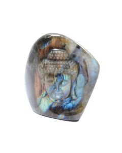 "Labradorite Tathagata Buddha Head Relief Carving (2.25x0.5x2.5"") (1 Piece) SPECIAL"