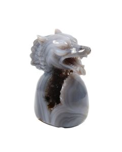 """Agate Geode Wolf Head Carving With Base (2.5x2.5x4"""") (1 Piece) SPECIAL"""