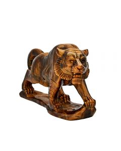 """Tiger Eye Tiger Carving w/Base 6.75""""x2""""x4.5"""" SPECIAL"""