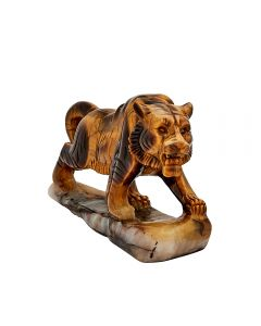 """Tiger Eye Tiger Carving w/Base 5""""x1.5""""x3.25"""" SPECIAL"""