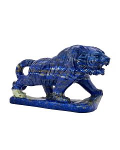 "Lapis Tiger Carving w/Base 4.25""x1.5""x2.75"" SPECIAL"