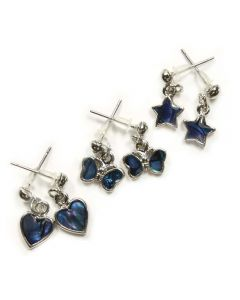 Blue Abalone Assorted Dangle Studs (12 Piece)
