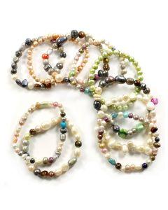 Rainbow Pearl (Freshwater) Bracelets (Elastic Cord) (10pcs) NETT