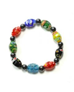 Magnetic Hematite + 10x14 Venitian Glass Bracelet (1pc) (Was  £2.9 Now £1.45 NETT)