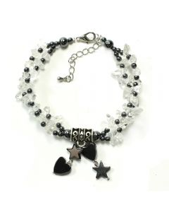 Hematite B'Let w/Crystal Charm (3pc)