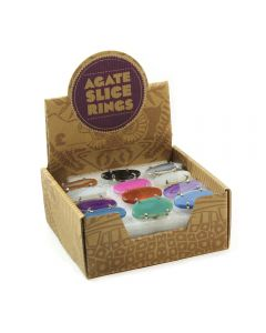 Assorted Agate Slice Rings (Adjustable) Retail Box (24pcs) NETT