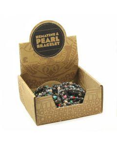 Hematine & Pearl Bead Bracelet Retail Box (20pcs) NETT