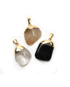 Black Tourmaline, Rutile & Smokey Quartz Dipped Gold Plated Pendants (3 Piece) NETT