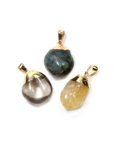 Emerald, Rock Crystal Citrine Dipped Gold Plated Pendants (3 Piece) NETT