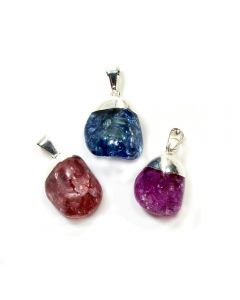 Cracked Crystal 3 Colours Dipped Silver Plated Pendants (3 Piece) NETT