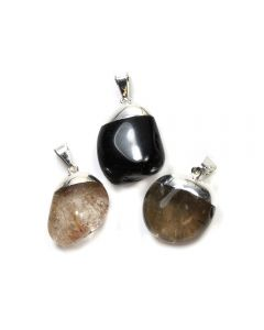 Black Tourmaline, Rutile & Smokey Quartz Dipped Silver Plated Pendants (3 Piece) NETT