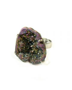 Saharan Rainbow Titanium Aura Druzy Geode Adjustable Cocktail Ring Imit Rhodium Plated (1 Piece) (Was  £6 Now £3) NETT