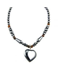 Hematite N/lace with Heart (6pcs)