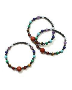 Magnetic Hematine & Chakra Bead Bracelet (3pcs) NETT